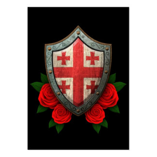 Worn Georgian Flag Shield with Red Roses Business Card
