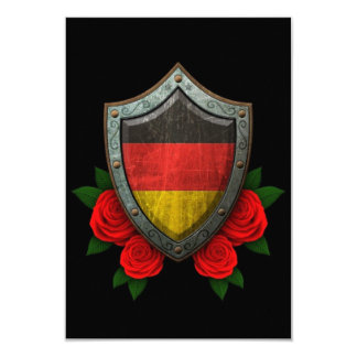 Worn German Flag Shield with Red Roses Personalized Invitations