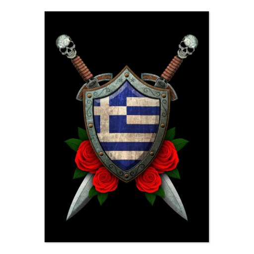 Worn Greek Flag Shield and Swords with Roses Business Card Template