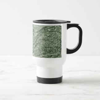 Worn green leaf stainless steel travel mug
