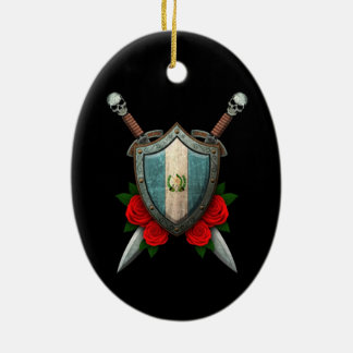 Worn Guatemala Flag Shield and Swords with Roses Christmas Ornaments