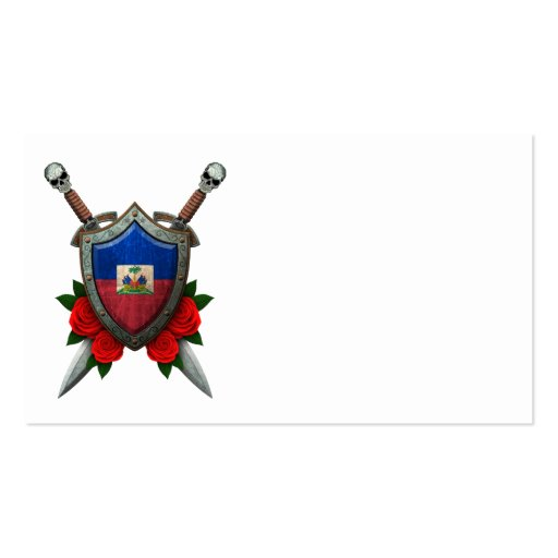 Worn Haitian Flag Shield and Swords with Roses Business Card