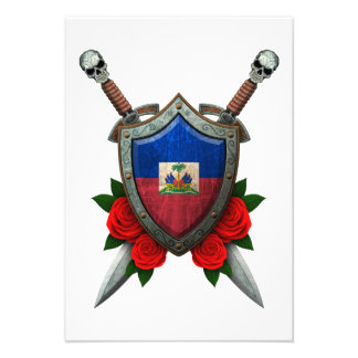 Worn Haitian Flag Shield and Swords with Roses Custom Announcement