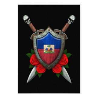Worn Haitian Flag Shield and Swords with Roses Custom Invitations