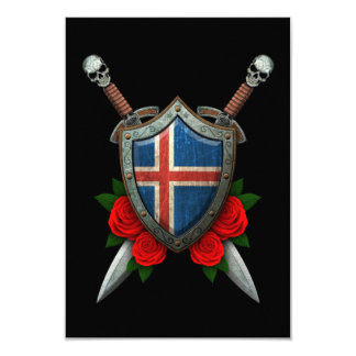 Worn Icelandic Flag Shield and Swords with Roses Announcement