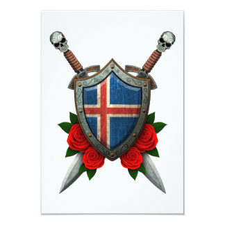 Worn Icelandic Flag Shield and Swords with Roses Invitations
