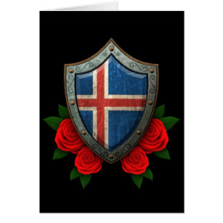 Worn Icelandic Flag Shield with Red Roses Greeting Card
