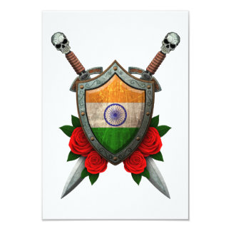 Worn Indian Flag Shield and Swords with Roses Invitations