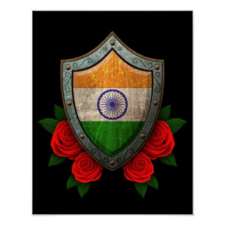 Worn Indian Flag Shield with Red Roses Posters
