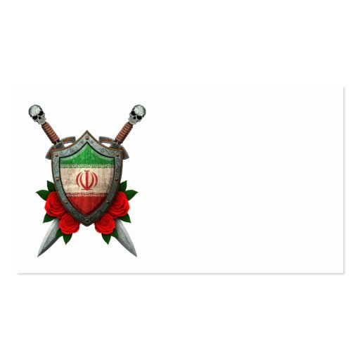 Worn Iranian Flag Shield and Swords with Roses Business Cards