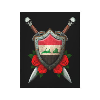 Worn Iraqi Flag Shield and Swords with Roses Gallery Wrap Canvas