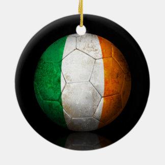 Worn Irish Flag Football Soccer Ball Christmas Ornament