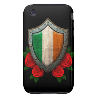 Worn Irish Flag Shield with Red Roses Tough iPhone 3 Covers