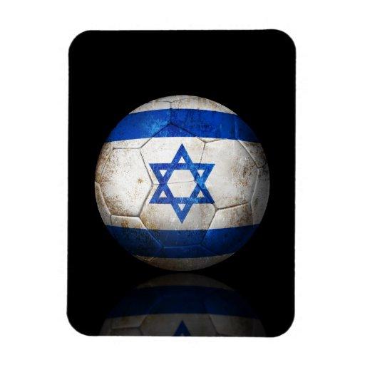 Worn Israeli Flag Football Soccer Ball Rectangle Magnet