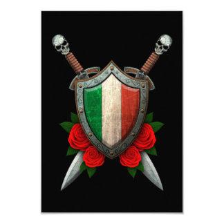 Worn Italian Flag Shield and Swords with Roses 9 Cm X 13 Cm Invitation Card