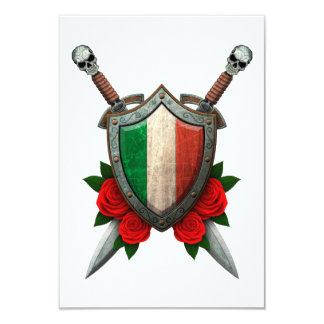 Worn Italian Flag Shield and Swords with Roses Personalized Announcements