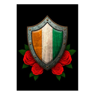 Worn Ivory Coast Flag Shield with Red Roses Business Card Template