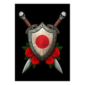Worn Japanese Flag Shield and Swords with Roses Large Business Cards (Pack Of 100)
