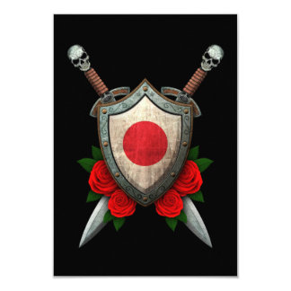 Worn Japanese Flag Shield and Swords with Roses Custom Invites