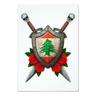 Worn Lebanese Flag Shield and Swords with Roses Custom Invitations