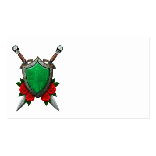 Worn Libyan Flag Shield and Swords with Roses Business Cards