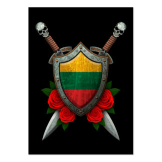 Worn Lithuanian Flag Shield and Swords with Roses Business Card Templates