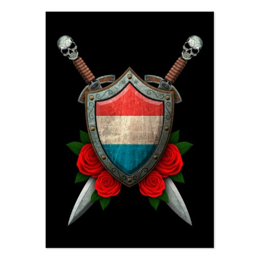 Worn Luxembourg Flag Shield and Swords with Roses Business Cards