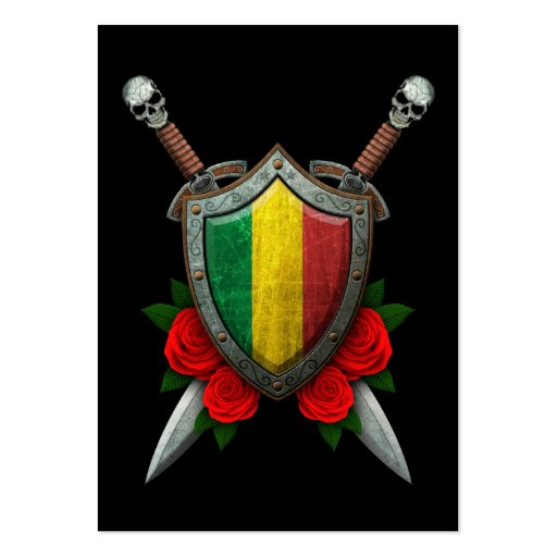 Worn Mali Flag Shield and Swords with Roses Business Card Template