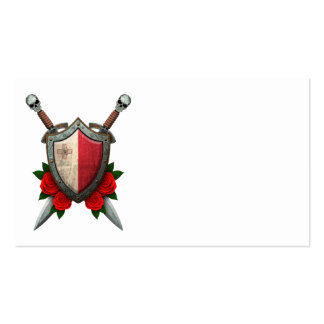Worn Maltese Flag Shield and Swords with Roses Business Card Template