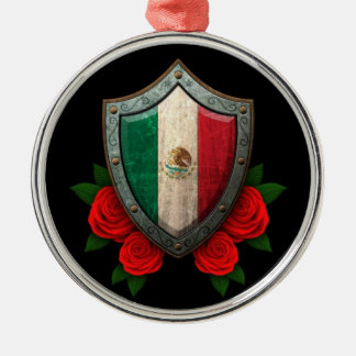 Worn Mexican Flag Shield with Red Roses Silver-Colored Round Decoration