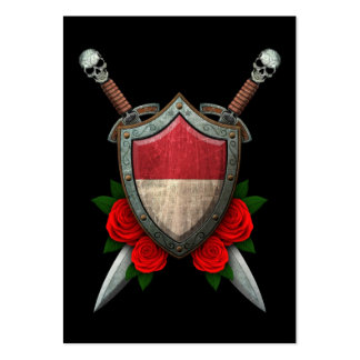 Worn Monaco Flag Shield and Swords with Roses Business Card Templates
