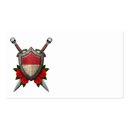 Worn Monaco Flag Shield and Swords with Roses Business Card