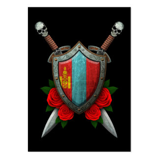 Worn Mongolian Flag Shield and Swords with Roses Large Business Cards (Pack Of 100)