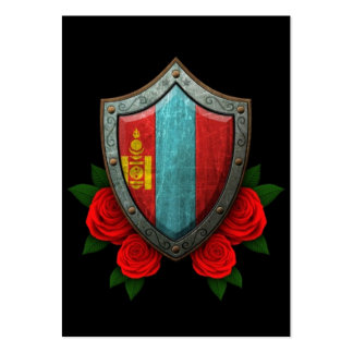 Worn Mongolian Flag Shield with Red Roses Business Card Template