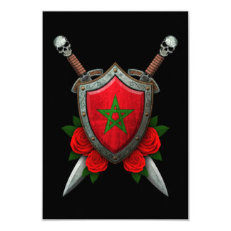 Worn Moroccan Flag Shield and Swords with Roses Personalized Announcement