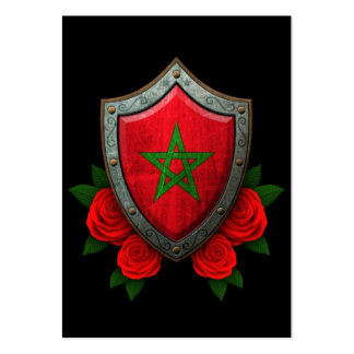 Worn Moroccan Flag Shield with Red Roses Large Business Cards (Pack Of 100)