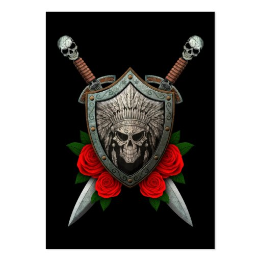 Worn Native Skull Shield and Swords with Roses Business Cards