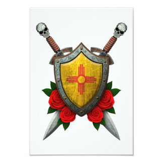 Worn New Mexico Flag Shield and Swords with Roses Custom Invite