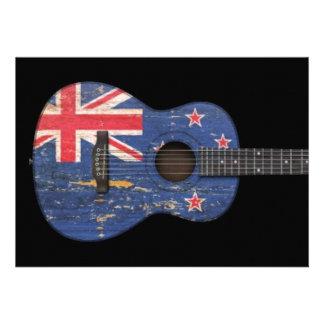 Worn New Zealand Flag Acoustic Guitar black Cards