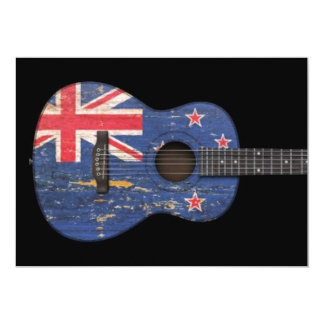 Worn New Zealand Flag Acoustic Guitar, black Cards