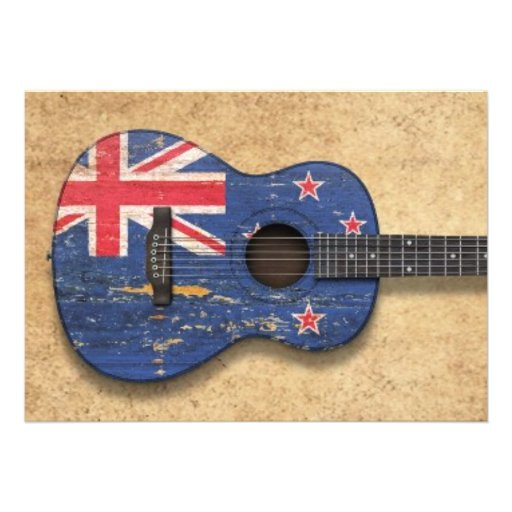 Worn New Zealand Flag Acoustic Guitar Cards