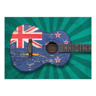 Worn New Zealand Flag Acoustic Guitar, teal Invites