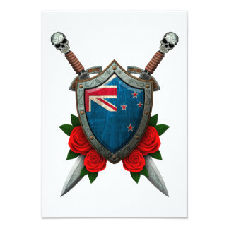 Worn New Zealand Flag Shield and Swords with Roses Personalized Announcements