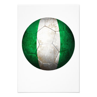 Worn Nigerian Flag Football Soccer Ball Personalized Invite