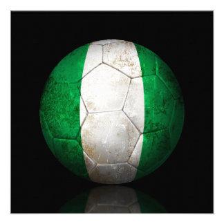 Worn Nigerian Flag Football Soccer Ball Custom Announcements