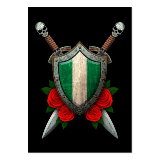Worn Nigerian Flag Shield with Red Roses Business Cards
