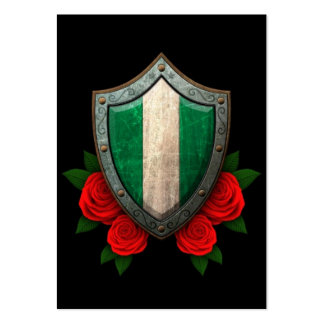 Worn Nigerian Flag Shield with Red Roses Large Business Cards (Pack Of 100)