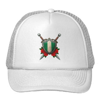 Worn Nigerian Flag Shield with Red Roses Hats