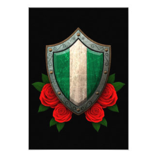 Worn Nigerian Flag Shield with Red Roses Invites