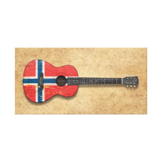 Worn Norwegian Flag Acoustic Guitar Stretched Canvas Prints